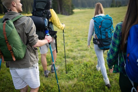 Four happy friends are looking on mountains and having fun together Reklamní fotografie - 124798067