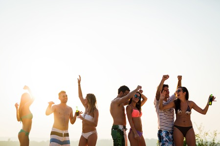 People dancing in summer Stock Photo