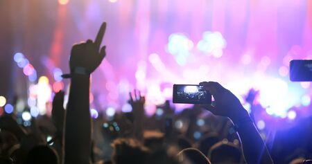 Die Leute genießen ein Konzert auf dem Festival