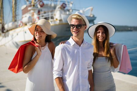 Happy people enjoying and having fun on a luxury summer vacation Stock Photo