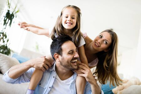 Happy family having fun time at home