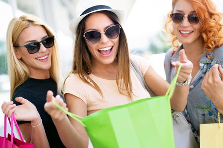 Group of beautiful women smiling and having fun together Stock Photo