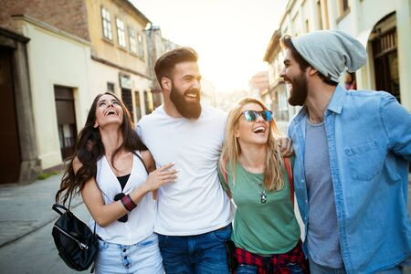 Group of friends having fun and spending good time together