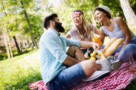 Happy group of friends relaxing and having fun on picnic in nature Фото со стока