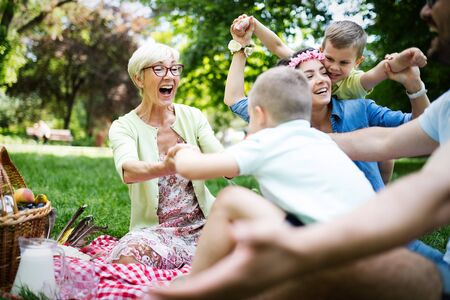 Multi generation family enjoying picnic in a park