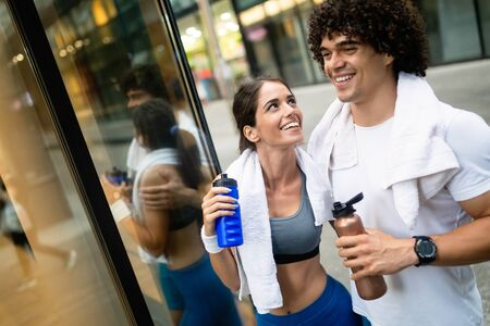 Young fit couple have training in urban enviroment at sunny day