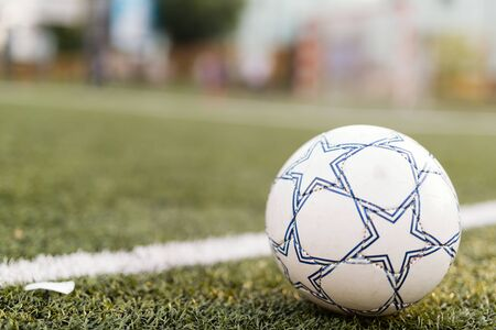 Picture of soccer ball on court by line 版權商用圖片