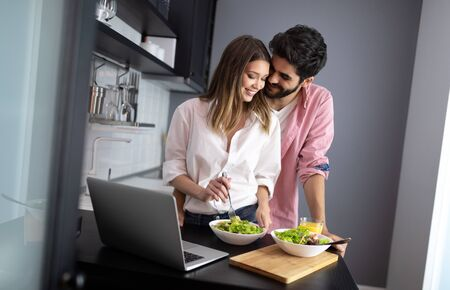 Couple enjoying breakfast time together at home.