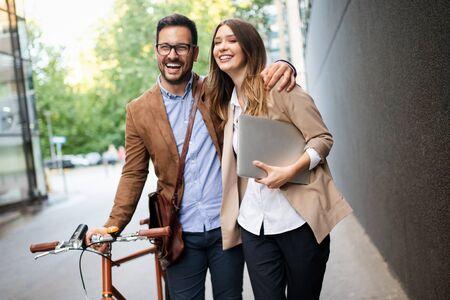 Loving couple walking, smiling having fun in the city Stock Photo