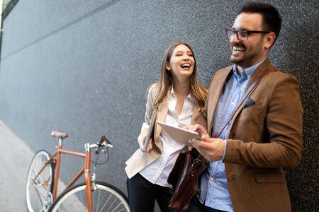 Loving couple walking, smiling having fun in the city