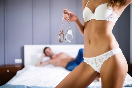 Playful couple in love affectionate in the morning Archivio Fotografico
