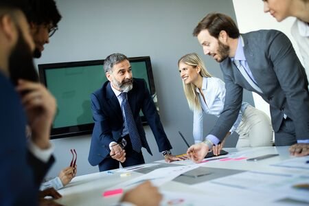 Portrait of happy business people. Concept of financial, insurance and marketing business Stock Photo