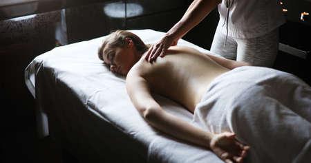 Healthy and beautiful woman in spa. Recreation, energy, health, massage 版權商用圖片