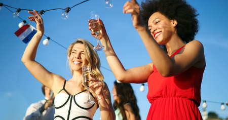 Diverse Ethnic Friendship Party Dance Leisure Happiness Concept