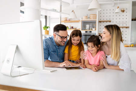 Education family online school technology lockdown concept