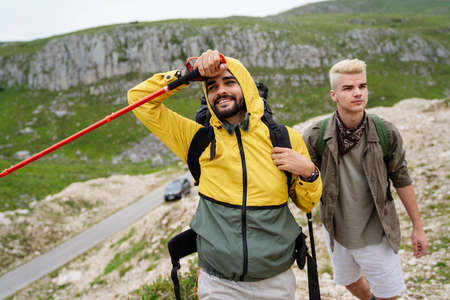 Hiking friends travel outdoor group sport lifestyle concept