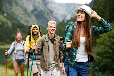 Hiking camping backpacker outdoor journey travel trekking concept