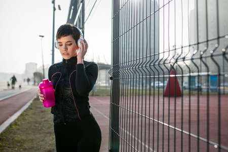 Good music is motivation for running. Sport health exercise concept
