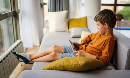 Little boy is smiling while playing or studying with digital tablet at home