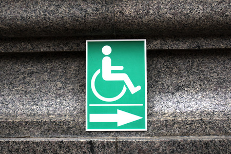 handicap sign: Wheelchair Handicap Sign  inside The temple  Wat Sothorn Wararam Thailand Stock Photo