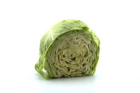 Cut cabbage Getting cooking on White Background
