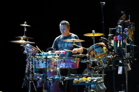 percussionist: Karl Perazzo. Carlos Santana concert Crocus City Hall in Moscow.  July 17, 2011