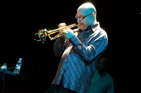 aerophone: Bill Ortiz. Carlos Santana concert Crocus City Hall in Moscow.  July 17, 2011