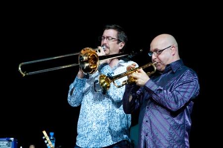 aerophone: Jeff Cressman and Bill Ortiz. Carlos Santana concert Crocus City Hall in Moscow.  July 17, 2011 Editorial