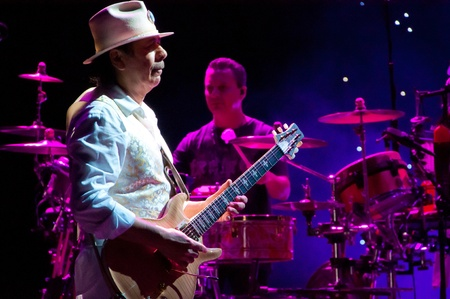 karl: Carlos Santana and Karl Perazzo. Carlos Santana concert Crocus City Hall in Moscow.  July 17, 2011
