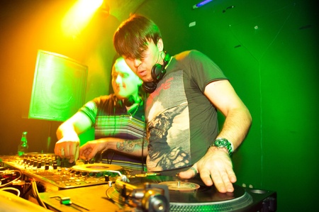 dubstep: DJ playing vinyl. Breaking News band concert Transmission Gaudi in Moscow. November 27, 2010 Editorial