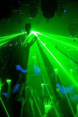 Excelent green laser party at the club photo