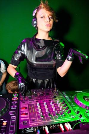DJ Miusha playing. Concert Gaudi club in Moscow. October 16, 2010