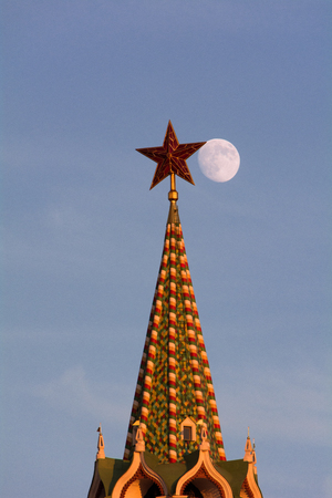 Moon near the star of the Kremlin.
