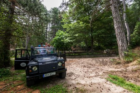 Sithonia, Chalkidiki, Greece - June 27, 2014: Offroad car Land Rover Defender 110 outdoors