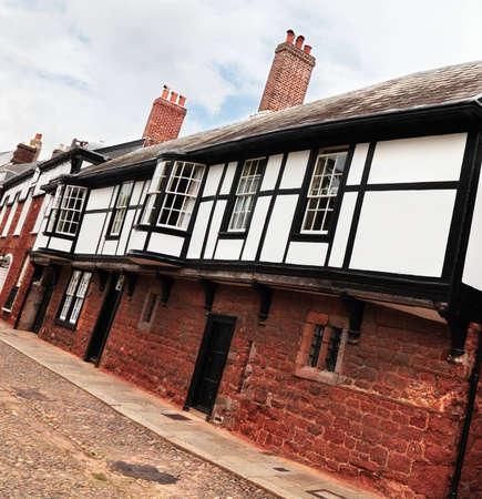 tudor: A row of Tudor houses in England