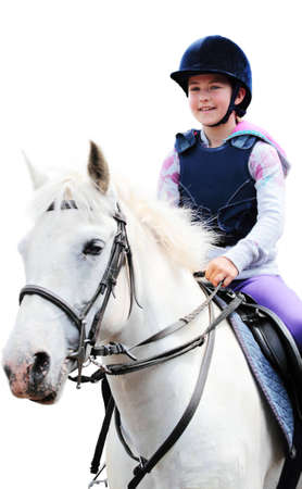 reins: A girl riding a white horse on a whilte background. Stock Photo