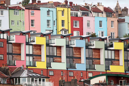 Hotwells Bristol.  Modern houses with Georgian colourful houses behind photo
