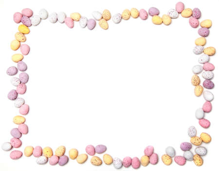eastertime: A border made of chocolate eggs