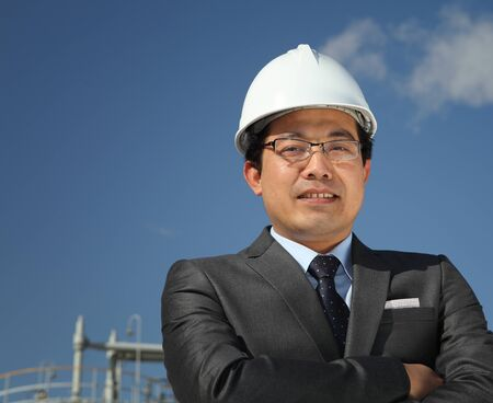 blue helmet: industrial engineer chemical plant Stock Photo