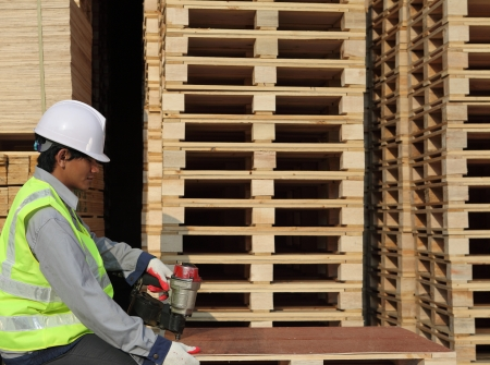 worker using nail gun to nail top of pallet  photo