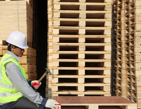 worker work with hammer and nail  Standard-Bild