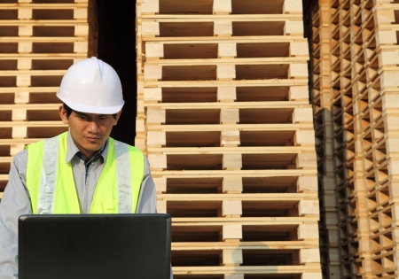 worker using laptop with stacking pallet background  Stock Photo - 14043616