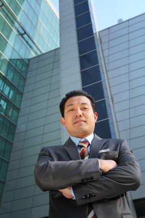 businessman front office modern building