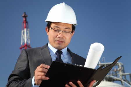 noteboard: industrial engineer chemical plant Stock Photo