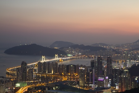 south korea: Busan city skyline at sunset South Korea Stock Photo