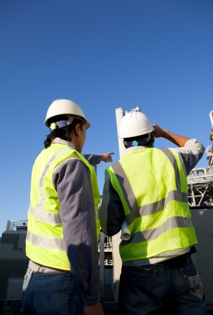 two engineer  discussion on location site Stock Photo - 16521170
