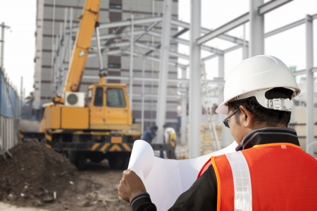 foreman cheking plant on construction site with worker background and excavator Stock Photo