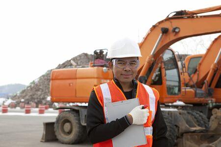heavy equipment operator: portrait of driver of construction equipment  Stock Photo