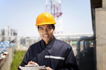 Portrait of asian engineer smiling Stock Photo