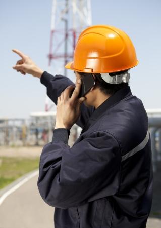 Chemical industrial engineer communication via phone photo